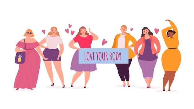 Corpo positivo. mulheres rechonchudas e modelos grandes com cartazes amam seu corpo. ilustração em vetor personagens fofinhos gordos femininos. mulher muito grande, pessoas com peso atraente