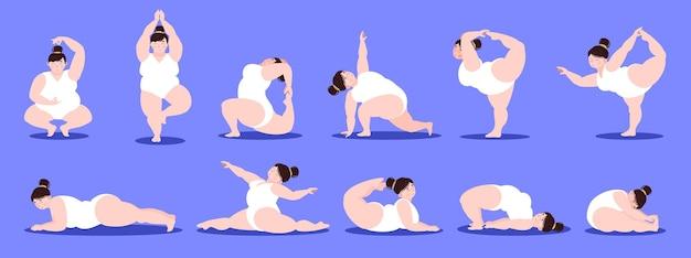 Corpo positivo uma menina gorda está envolvida em treinamento de exercícios físicos, meditação, ioga