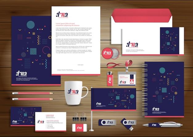Corporate business identity design artigos de papelaria do vetor