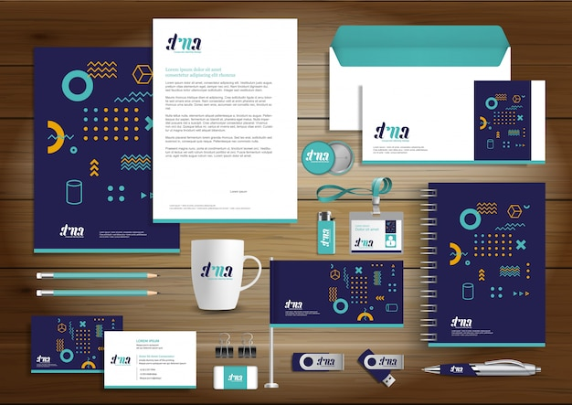 Corporate business identity design artigos de papelaria do vetor