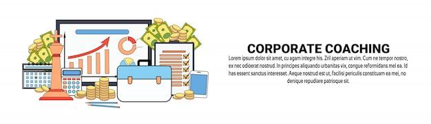 Corporate coach business education e conceito de formação banner horizontal modelo