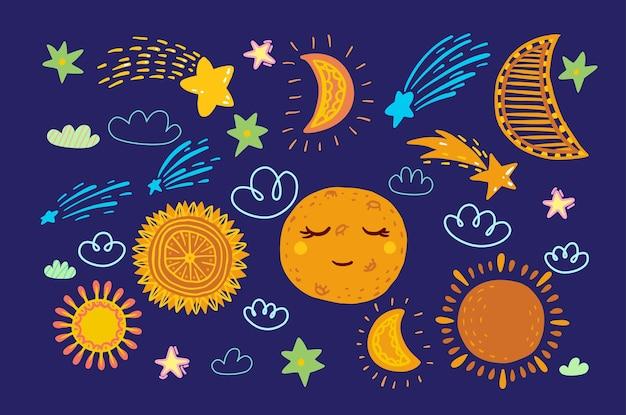 Corpos celestiais juvenis: sol, lua, nuvens, cometas, estrelas. estilo bonito dos desenhos animados.