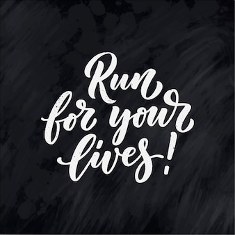 Corra por suas vidas letras para design de banner