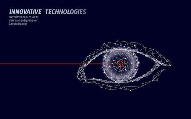 Correção da visão a laser conceito médico 3d. tecnologia de cirurgia moderna íris abstrata operação baixa poli. forma de renderização poligonal de triângulos ilustração de identidade biométrica