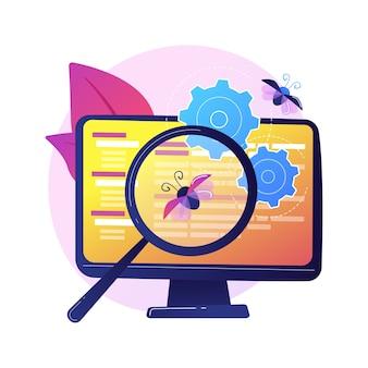 Correção de bugs e teste de software. ferramenta de pesquisa de vírus de computador. devops, otimização web, aplicativo antivírus. lupa, roda dentada e elemento de design do monitor.
