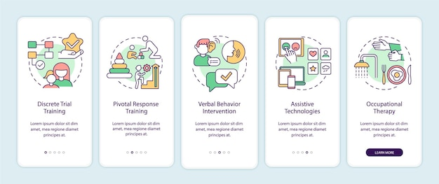 Correção de comportamento autista na tela da página do aplicativo móvel. tecnologia assistiva com instruções gráficas de 5 etapas e conceitos. modelo de vetor ui, ux e gui com ilustrações coloridas lineares