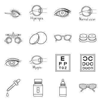 Correção do conjunto de ícones de contorno de visão. oftalmologia ilustração isolada e correção da visão. conjunto de ícones de olho diagnóstico.