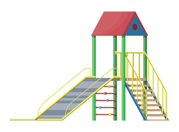 Corrediça para crianças com escada e telhado isolado no branco.