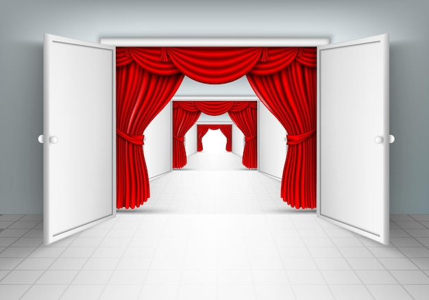 Corredor com cortinas de seda vermelha.