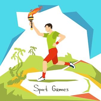 Corredor, com, fogo tocha, esporte, competição, começo