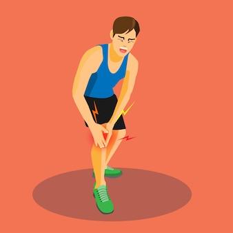 Corredor com joelho machucado chorando de dor.