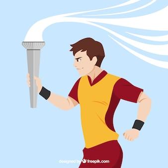 Corredor com tocha olímpica