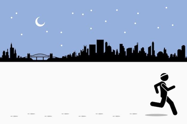 Corredor correndo à noite com uma paisagem urbana. conceito de exercício, estilo de vida saudável e fitness.