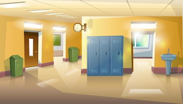 Corredor da escola com portas, salas de aula, lixo e pia.