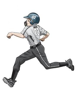 Corredor de beisebol feliz