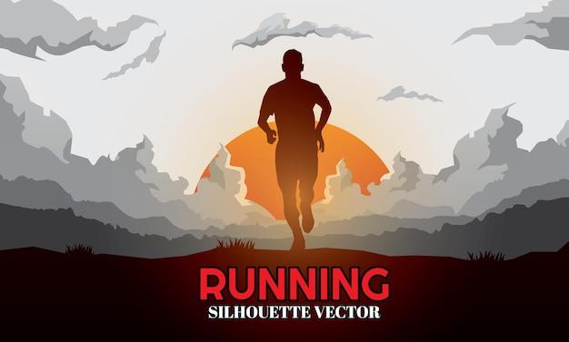 Corredor de silhuetas trail running marathon corredor