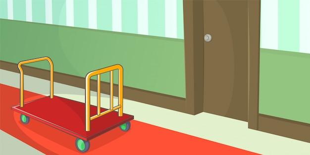 Corredor horizontal do fundo do hotel, estilo dos desenhos animados