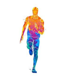 Corredores abstratos em distâncias curtas sprinter do respingo de aquarelas. ilustração de tintas.