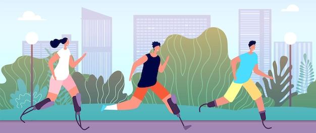 Corredores com deficiência. estilo de vida adaptado, atleta deficiente físico ao ar livre. pessoas com necessidades especiais ilustração em vetor treinamento competição esporte. corredor de deficiência esportiva, competição de prótese de atleta