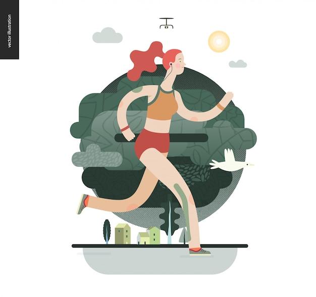 Corredores com garota exercitando