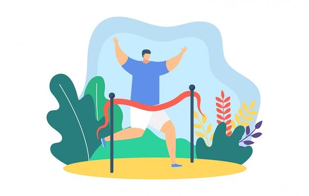Corredores de pessoas correndo ilustração, personagem de vencedor do campeão homem feliz dos desenhos animados, terminando primeiro na maratona em branco