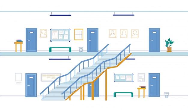 Corredores universitários vazios em pisos diferentes