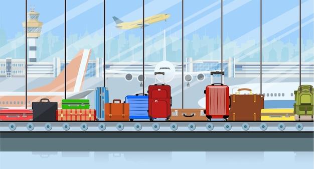 Correia transportadora de aeroporto com ilustração de sacos de bagagem de passageiros.