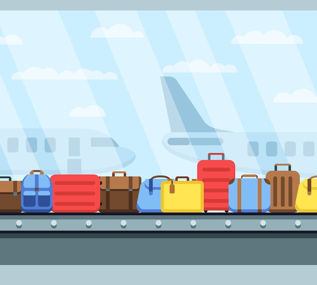 Correia transportadora de aeroporto com malas de bagagem de passageiros