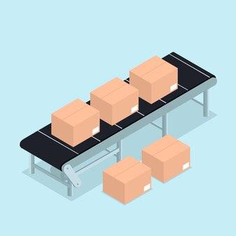 Correia transportadora industrial isométrica com embalagem