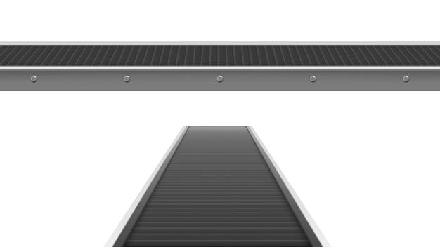 Correia transportadora na fábrica, planta ou armazém na frente e vista em perspectiva