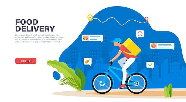 Correio de bicicleta com caixa de pacote nas costas, entregando comida na cidade