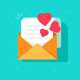 Correio de confissão de amor ou estilo de cartoon plana do ícone de vetor de e-mail convite romântico