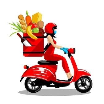Correio de entrega de comida mascarado em uma scooter no vetor eps 8