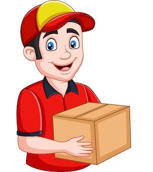 Correio de entrega dos desenhos animados segurando caixas de papelão