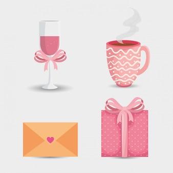 Correio de envelope com ícones para ilustração de dia dos namorados san