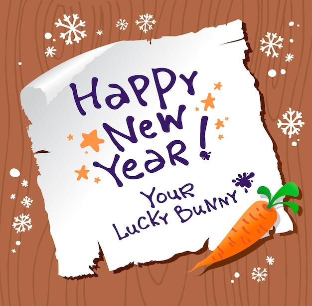Correio de feliz ano novo do coelhinho sortudo