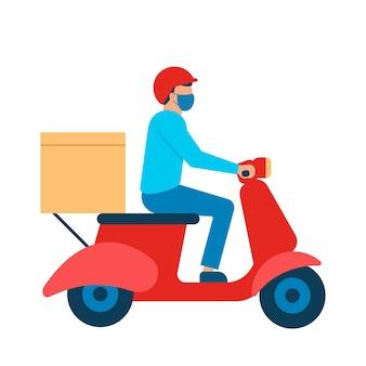 Correio de scooter com caixa de mercadorias, entregador com máscara respiratória. serviço de entrega online, entrega ao domicílio. ilustração