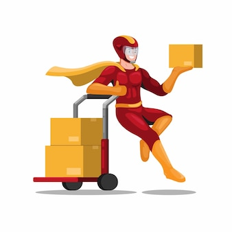 Correio de super-heróis com caixa de embalagem de carrinho, envio para mascote de negócios de serviço de entrega ao cliente