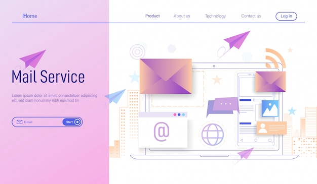 Correio eletrônico ou serviços de e-mail e marketing por e-mail comercial