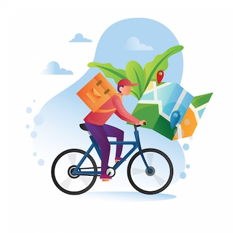 Correio em bicicleta com caixa de encomendas na parte de trás entregando comida na cidade