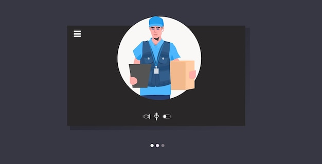 Correio homem segurando caixa de papelão preto sexta-feira venda entrega expressa conceito de serviço online retrato horizontal ilustração vetorial