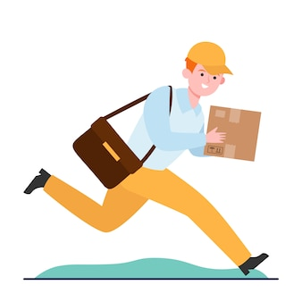 Correio jovem correndo com caixa de papelão