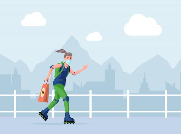 Correio ou voluntário na máscara protetora segurando o saco com fast-food, passeio de mulher na ilustração dos desenhos animados de rolos.