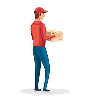 Correio postal. entregador segurando caixa de papelão. personagem de desenho animado . uniforme postal vermelho. entrega de encomendas e pacotes. ilustração em fundo branco
