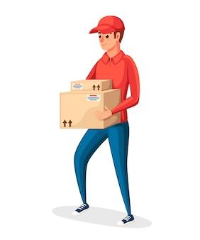 Correio postal. entregador segurando duas caixas de papelão. personagem de desenho animado . uniforme postal vermelho. entrega de encomendas e pacotes. ilustração em fundo branco
