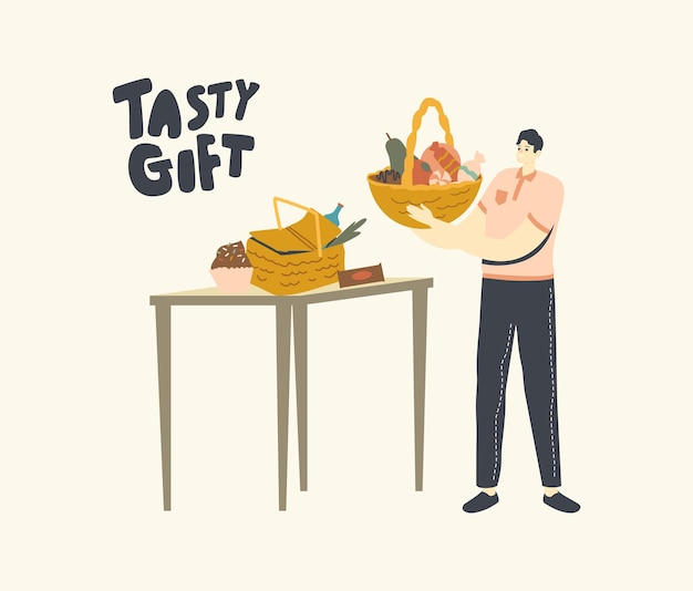 Correio segurando um presente saboroso na cesta para entrega, personagem com buquê comestível
