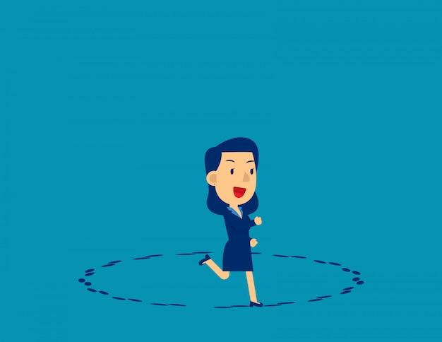 Correndo em círculo. direção de negócios