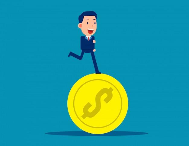 Correndo em moedas. conceito de negócio financeiro. estilo de negócios