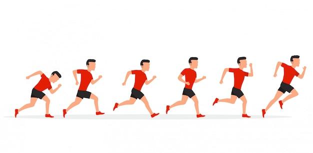 Correndo o homem em posições diferentes.