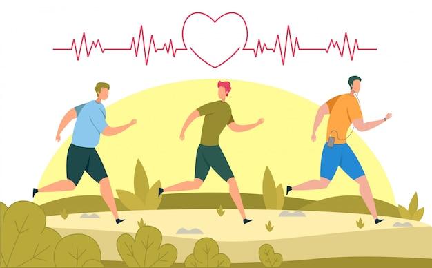 Correndo para ilustração de saúde do coração